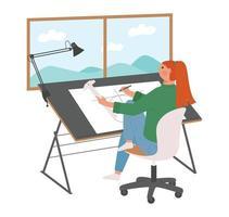 una donna è seduta a un tavolo da disegno e disegna un disegno. vettore