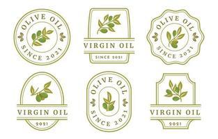 collezioni di etichette di olio d'oliva vettore