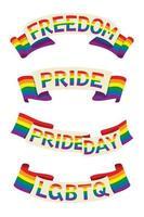 quattro nastri in stile di bandiera arcobaleno con parole per l'attività lgbt. vettore