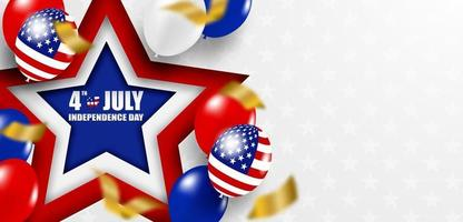 4 luglio felice festa dell'indipendenza usa. design con palloncini e bandiera americana. vettore. vettore