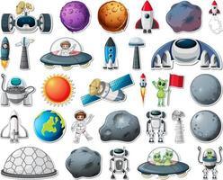 set di adesivi con oggetti del sistema solare isolati vettore