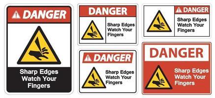 pericolo spigoli vivi guarda le tue dita simbolo segno isolare su sfondo bianco, illustrazione vettoriale eps.10