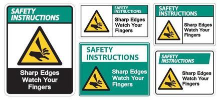 istruzioni di sicurezza spigoli vivi guarda le tue dita simbolo segno isolare su sfondo bianco, illustrazione vettoriale eps.10
