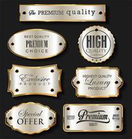 Collezione di design vintage retrò di etichette in oro e argento
