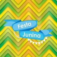 festa junina vacanza sfondo. festa tradizionale brasiliana del festival di giugno. vacanza di mezza estate. illustrazione vettoriale con nastro e bandiere