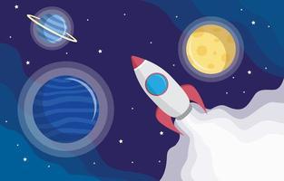 astronave e sfondo del pianeta vettore