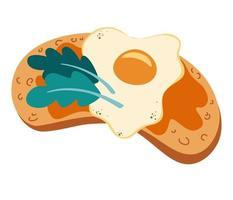 toast con uova ed erbe aromatiche. deliziosa colazione. cibo salutare. pane con uova strapazzate. panino vegetariano. illustrazione vettoriale isolato su uno sfondo bianco