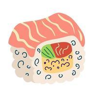 rotolo di Filadelfia. rotolo di sushi con salmone, riso, avocado e formaggio. rotolo di sushi maki. cibo tradizionale giapponese per adesivi, web, sito, menu, negozio, ristorante, icone. illustrazione vettoriale piatta