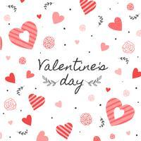 Sfondo carino con cuore, foglie, fiori e puntini al giorno di San Valentino