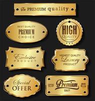 Collezione di cornici e nastri d'oro distintivi retrò etichette