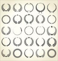 Raccolta di illustrazione vettoriale vintage retrò corona di alloro