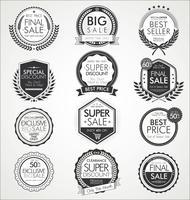 Collezione di distintivi ed etichette di vendita vintage retrò