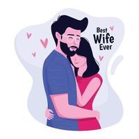marito che abbraccia la bella moglie vettore
