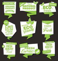 Collezione di etichette di prodotti biologici naturali