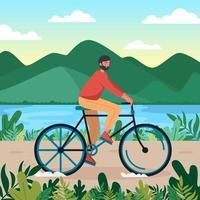 il giovane va in bicicletta nel parco vettore