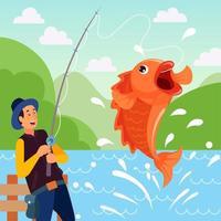 attività di pesca estiva nel lago delle colline vettore