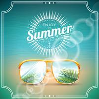 Illustrazione vettoriale su un tema vacanza estiva con occhiali da sole.