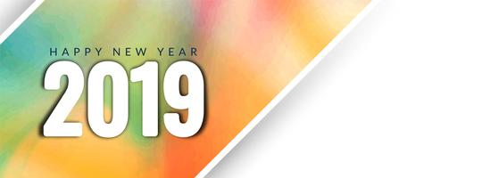 Elegante modello di banner di felice anno nuovo 2019