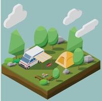 stile isometrico basso poligono di un campeggio con un camper in una foresta. illustrazione vettoriale eps10.