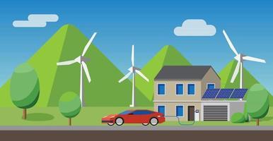 auto elettrica in carica al caricabatterie a casa, pannelli solari, turbine eoliche in background. vettore