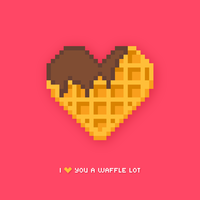 Waffle Pixel Art a forma di cuore