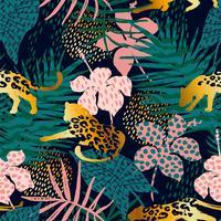 Modello esotico senza cuciture alla moda con palme e leopardi. vettore