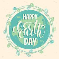 Concetto di giornata per la Terra con lettering disegnare a mano.