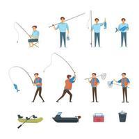 set di icone di elementi di pesca vettore