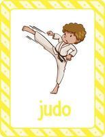 flashcard del vocabolario con la parola judo vettore