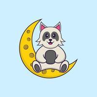 simpatico cane è seduto sulla luna. concetto animale del fumetto isolato. può essere utilizzato per t-shirt, biglietti di auguri, biglietti d'invito o mascotte. stile cartone animato piatto vettore