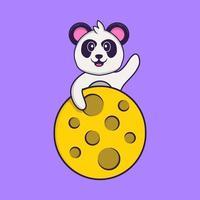 il simpatico panda è sulla luna. concetto animale del fumetto isolato. può essere utilizzato per t-shirt, biglietti di auguri, biglietti d'invito o mascotte. stile cartone animato piatto vettore