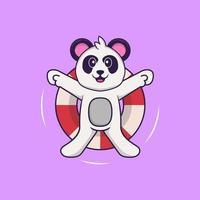 il simpatico panda sta nuotando con una boa. concetto animale del fumetto isolato. può essere utilizzato per t-shirt, biglietti di auguri, biglietti d'invito o mascotte. stile cartone animato piatto vettore