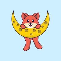 la volpe carina è sulla luna. concetto animale del fumetto isolato. può essere utilizzato per t-shirt, biglietti di auguri, biglietti d'invito o mascotte. stile cartone animato piatto vettore