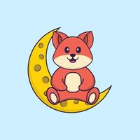 la volpe carina è seduta sulla luna. concetto animale del fumetto isolato. può essere utilizzato per t-shirt, biglietti di auguri, biglietti d'invito o mascotte. stile cartone animato piatto vettore