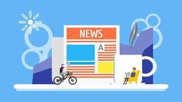 uomo d'affari che legge il giornale con una tazza di caffè sullo sfondo. l'uomo va in bicicletta con il concetto di titolo di notizie. personaggio di persone minuscole scorticate. illustrazione di vettore del modello di progettazione della pagina di destinazione.