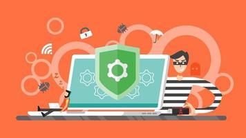 concetto di hacking. hacker ladro che cerca di rubare informazioni private dal computer portatile. virus spam e-mail, sicurezza Internet, protezione dei dati, criminalità informatica, crittografia. illustrazione vettoriale di scorticatura.