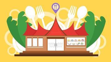 concetto di punto ristorante padang con tradizionale casa simbolo di gadang design piatto in stile cartone animato. rendang carne sumatra cibo indonesiano. illustrazione vettoriale. vettore
