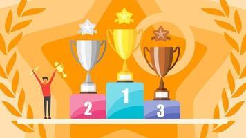 concetto di vittoria. piccole persone che tengono il premio trofeo d'oro. vincitore coppe oro, argento e bronzo. personaggio di successo in piedi su un podio. festeggia la sua vittoria. illustrazione vettoriale design piatto.