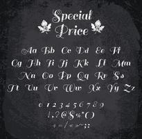 Illustrazione vettoriale di alfabeto col gesso