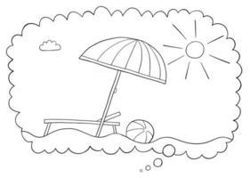 fumetto illustrazione vettoriale del sogno di vacanza nella bolla di pensiero