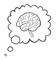 fumetto illustrazione vettoriale del cervello nella bolla di pensiero
