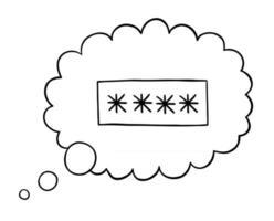 fumetto illustrazione vettoriale di password a 4 cifre nella bolla di pensiero