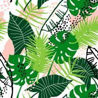 Modello esotico senza cuciture con piante tropicali.