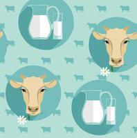 Illustrazione di vettore moderno design piatto senza soluzione di continuità di latte.