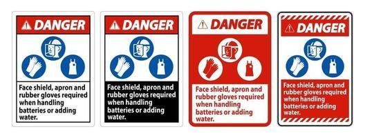 segnale di pericolo visiera, grembiule e guanti di gomma necessari quando si maneggiano le batterie o si aggiunge acqua con i simboli DPI vettore