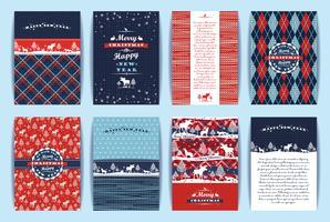 Set di Natale e Capodanno. Sfondi a quadri e lavorati a maglia. vettore