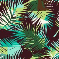 Modello esotico senza cuciture con piante tropicali e sfondo artistico vettore
