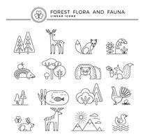 Icone lineari di vettore di flora e fauna forestale.