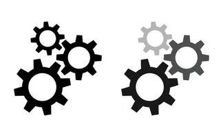 impostazione icona ingranaggi. gruppo ruota dentata. collezione di ingranaggi design su sfondo bianco vettoriali gratis