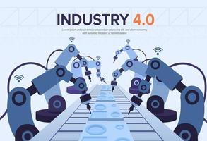 banner industria 4.0 con braccio robotico. rivoluzione industriale intelligente vettore